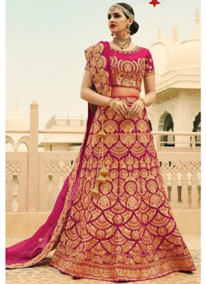 Hot Pink Phantom Silk Bridal Lehenga Choli With Mono Net Dupatta