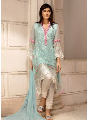 Ice Blue Georgette Embroidered Pakistani Suit