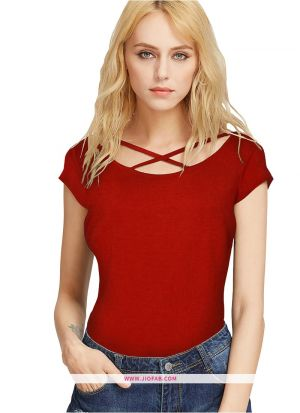 Imported Fabric Tipsy Red T Shirt For Girl