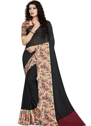 Impressive Black Digital Printed Saree