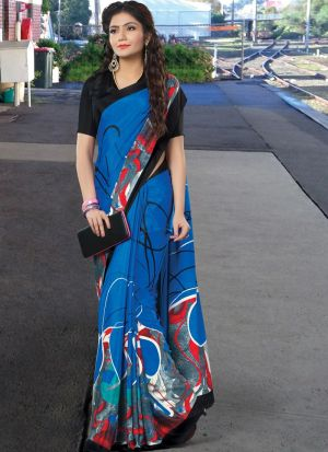 Impressive Blue Crepe Digital Printed Saree