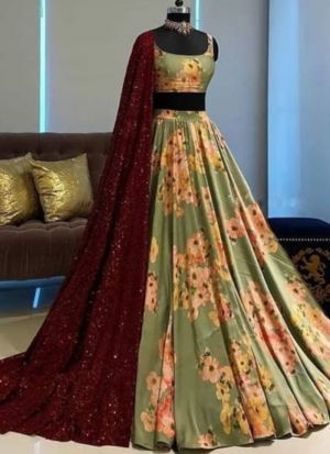 Impressive Green Digital Print Wedding Wear Lehenga Choli