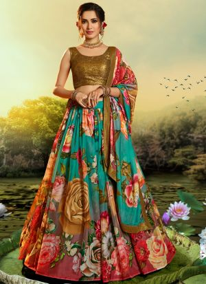 Impressive Multi Color Organza Digital Printed Lehenga Choli