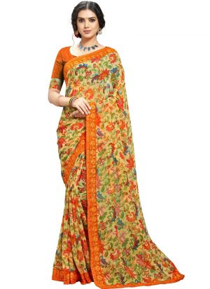 Impressive Print Designs On Multi Color Designer Georgette Saree