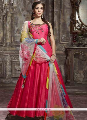 Indian Designer Grey Color Banglori Silk Gown For Women