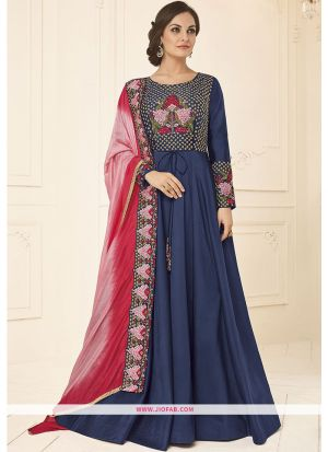 Indian Designer Navy Color Satin Taffeta Gown For Women