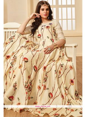 Indian Designer Off White Color Maslin Cotton Gown For Women
