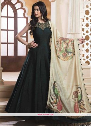 Indian Designer Pine Green Bright Silk Gown For Women