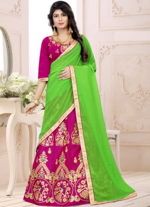 Indian Designer Sana Silk Rani Color Lehenga Choli For Bridesmaid
