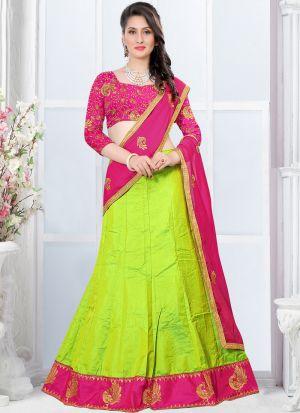 Indian Designer Zari Work Green Lehenga Choli For Bridesmaid
