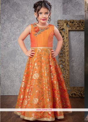 Indian Ethnic Wear Gown In Orange Color For Little Girl