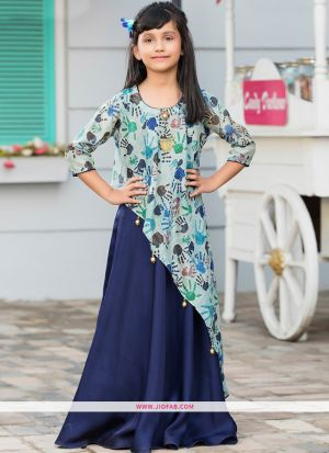 Indian Fashion Occasionally Stylish Partywear Kids Girl Gown In Navy Color