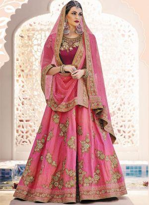 Indian Festive Wear Novel Pink Thread Work Lehenga Choli