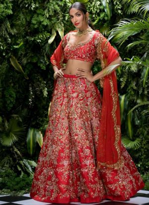 Indian Festive Wear Red Thread Work Designer Traditional Lehenga Choli