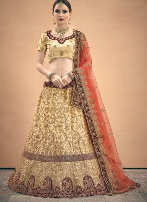 Indian Traditional Beige Color Designer Lehenga Choli
