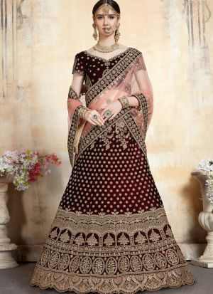 Indian Traditional Maroon Wedding Bridal Designer Lehenga Choli