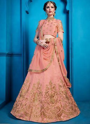 Indian Traditional Peach Designer Lehenga Choli