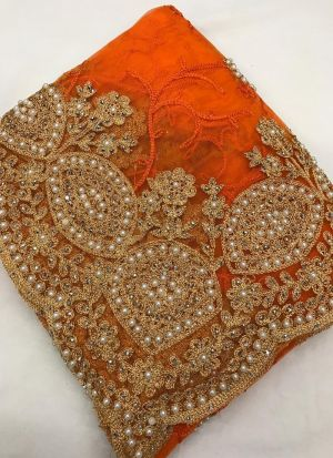 Indian Wear Orange Embroidered Work Fancy Saree