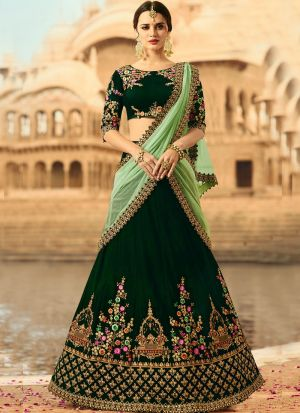 Indian Women Velvet Thread Work And Hand Work Designer Lehenga In Dark Green Colour