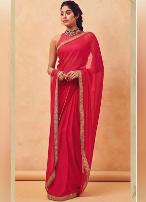 Jhanvi Kapoor Red Georgette Replica Saree