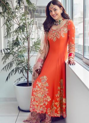 Kajal Aggarwal Festive Wear Orange Paper Mirror Work Salwar Suit