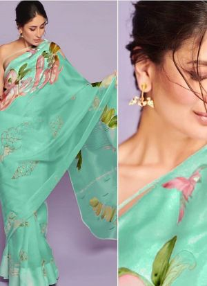 Kareena Kapoor Khan Style Mint Organza Party Wear Saree