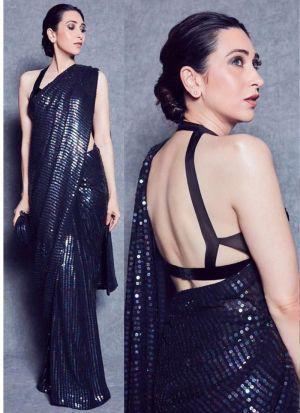 Karishma Kapoor Navy Color Bollywood Designer Saree