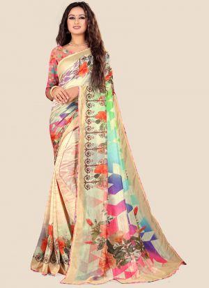 Katki Silk Multi Color Indian Traditional Saree