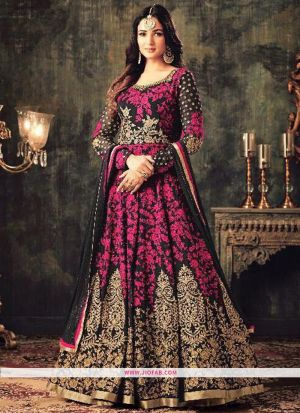 KD 1144 Purple Georgette Embroidered Traditional Salwar Suit