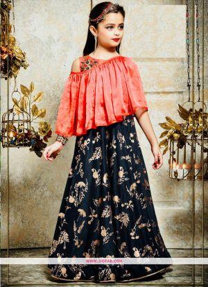 Kids Wear Orange Silk Floor Length Gown For Festive
