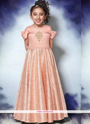Kids Wear Pastel Pink Floor Length Gown For Festive