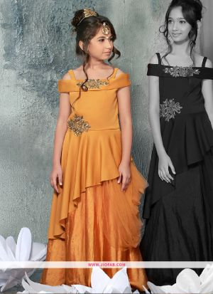 Kids Wear Yellow Color Floor Length Gown For Festive