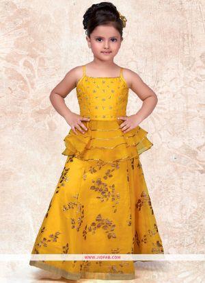Kids Wear Yellow Color Indian Lehenga Choli for Festive