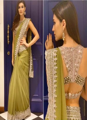 Kirti Sanon Light Green Mono Net Saree With Fancy Thread Work