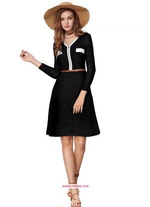 Knee Length Onepiece Black Color Western Wear Dress