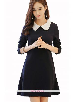 Knee Length Onepiece Black Western Wear Dress