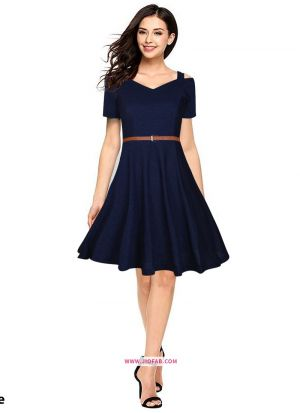 Knee Length Onepiece Blue Western Wear Dress