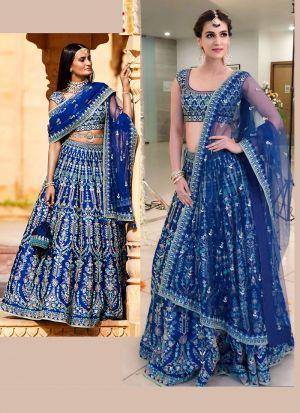 Kriti Sanon'S Fame Blue Thread Work Wedding Wear Lehenga Choli