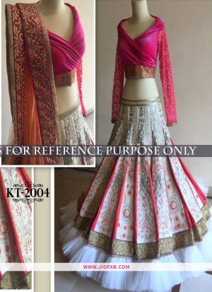KT 2004 White Party Multy Work Wedding Lehenga Choli
