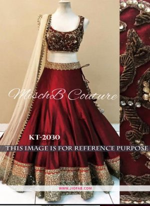 kt 2030 Maroon Bridal Cocktail Banglory Satin Silk Designer Lehenga Choli