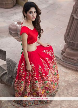 KT 2053 Red Festival Bangalore Silk Semi Stitched Wedding Lehenga Choli