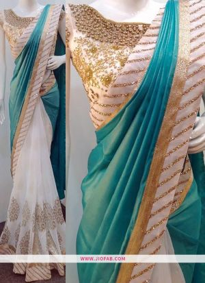 ef4ae2ace9 ... KT 3171 Thread Work Turquoise And Off White Wedding Saree