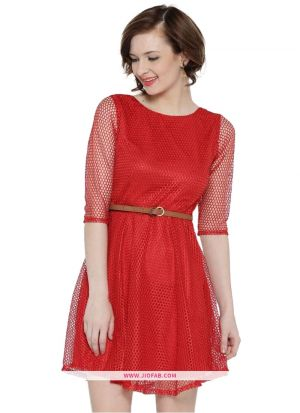 Lace Western Wear Dress In Red Color