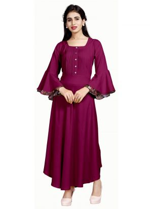 Ladies Flavor New Arrival Pure Heavy Rayon Maroon Kurti