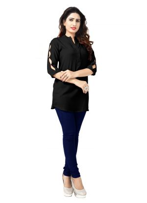 Ladies Flavor New Arrival Rayon Black Kurti