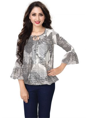 Ladies Solid Grey Color Formal Top