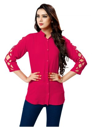 Ladies Solid Pink Color Formal Shirt