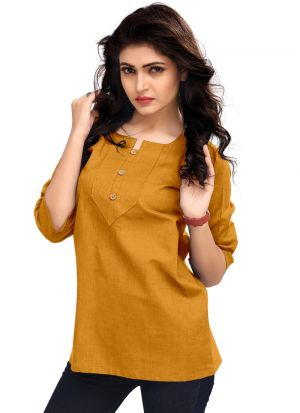 Ladies Solid Yellow Color Formal Top