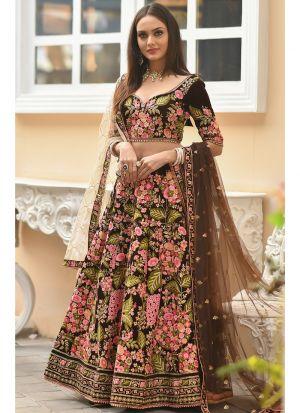 Latest Arrival Mocha 9000 Velvet Heavy Designer Lehenga Choli