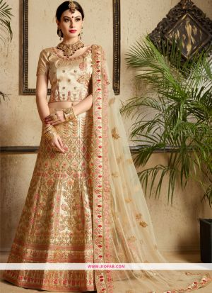 Latest Arrival Satin Traditional Lehenga Choli In Beige Color